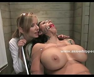 Busty sapphic cake enjoys bondage