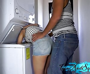 STEP SISTER GETS FUCKED IN LAUNDRY ROOM AND CUM ON HER TITS - TEEN AND SQUIRT