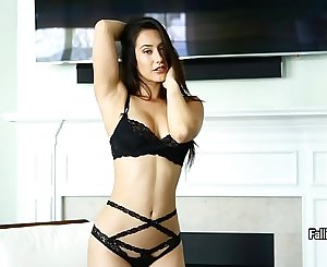 Eva Lovia in sexy black lingerie and black stockings