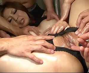 Bound and gagged Rika Aina used by two horny guys